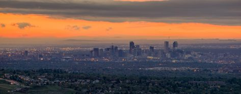 From Mount Morrison, Colorado.  An aerial view of downtown Denver during sunrise.